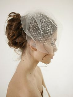 Olivia - Double layer birdcage wedding veil, russian netting wedding veil, mini veil, simple birdcage veil, Style V14  Beautiful and simple double