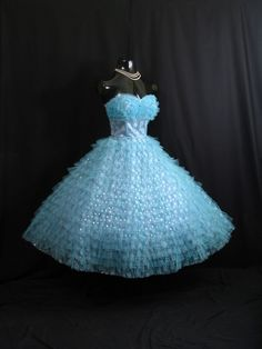 Vintage 1950's 50s STRAPLESS Turquoise Blue Metallic Tulle Prom Party DRESS