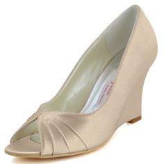 Elegantpark EP2009 Champagne Women's Peep Toe Wedge Heel Pleated Satin Prom Pumps US 11