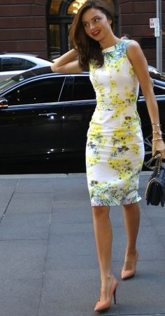 White and Yellow. Floral Dress. Pencil Dress. Summer Dress. Summer Fashion. Miranda Kerr Style.