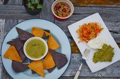 Totopos w/ Chilli Salsa Kraut, Refried Beans + Dips