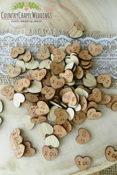 """100 Tiny """"I Do"""" Hearts ~ 1/2"""" ~ Cute Little Wooden Hearts! Bridal Shower Decoration ~ Spring Wedding"""