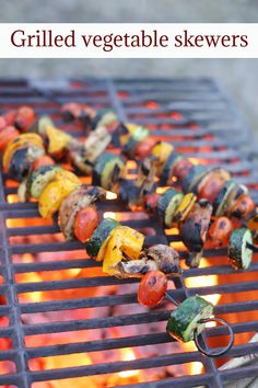 Grilled vegetable skewers are a delicious vegan side dish for your cookout or campfire. With zucchini, mushrooms, grape tomatoes, and bell peppers, there's lots of flavor in every bite. Cook out on an outdoor grill, or a fire pit with grate. #campingrecipes #cookout #grilling #veganrecipes #summerfood Grilled Vegetable Skewers, Grilled Vegetables, Layered Taco Salads, Taco Salad Bowls, Vegan Side Dishes, Finding Vegan, Stuffed Mushrooms, Stuffed Peppers, Camping Meals