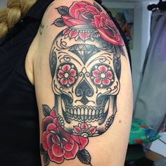 #sugarskull #roses done at #kahunatattoo #cannes #cotedazur #guest under the #sun