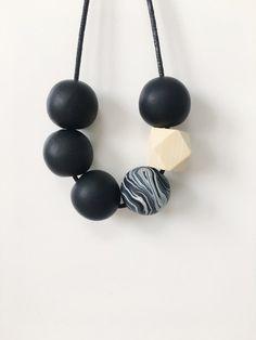Black Statement Bead Necklace Geometric by BeadBoxJewellery