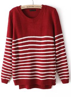 Red Long Sleeve Striped Buttons Sweater - Sheinside.com Red Jumper 2ab4ae634