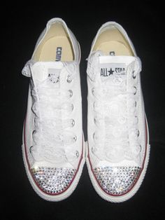 Custom Wedding Sneakers Converse with Swarovski  by glamourtoes, $125.00