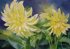 Yellow Dahlia Duet Painting by Sharon Freeman - Yellow Dahlia Duet Fine Art Prints and Posters for Sale