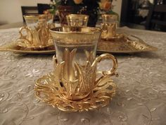 Turkish Tea Coffee Glasses Set of 6 Teacups + Saucers Gold Band