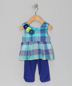 Take a look at this Turquoise Plaid Tunic & Leggings - Infant by Sophie Catalou on #zulily today!