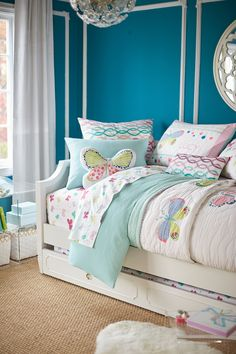 With an unexpected pop of neon, our 100% cotton Lucy Butterfly Bedding is a perfectly soft and whimsical additio to their room. Our Ava regency Collection creates a beautiful canvas for this bedding with artful curves and signature moldings.