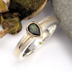 Green Tourmaline silver and gold ring Gold And Silver Rings, Green Tourmaline, Gemstone Rings, Rings For Men, Gemstones, Jewelry, Men Rings, Jewlery