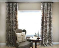 Hometalk :: Stencilled Curtains From Drop Cloths