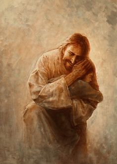 picture of jesus christ holding a small child against his shoulder with a cloudy yellow background Pictures Of Jesus Christ, Jesus Christ Images, Jesus Art, God Jesus, Image Of Jesus, Jesus Christ Lds, Lds Art, Bible Art, Arte Lds