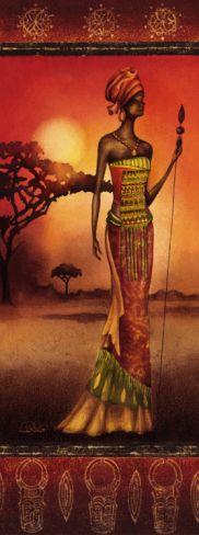 Masai Lady Warrior Print by Nicola Rabbett at eu.art.com