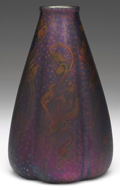 "Weller Pottery, Sicard line; slightly lobed, bulbous vase, 5""w x 7.5""h"