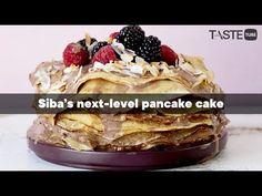 Siba's next-level pancake cake Pancake Cake, Pancakes, Pan Sizes, Cold Ice, Cake Youtube, Non Stick Pan, Coconut Cream, Weeknight Meals, Food Videos