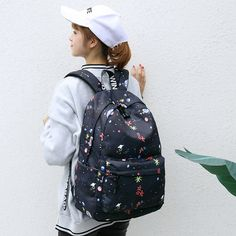 Abdb-classic Floral Printed Travel Backpack For Women Canvas School Backpack For Teenager Large Capacity Backpack Female Computer Backpack, Key Chain Holder, Waterproof Fabric, School Bags, Fashion Backpack, Graffiti, Backpacks, Pattern, Personality