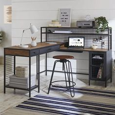 Home Office Design, Home Office Decor, Home Decor, Office Ideas, Office Furniture, House Design, Regal Display, L Shaped Desk, L Shaped Bench