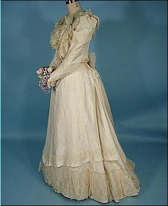c. 1900 Wedding Gown!  2-Piece Ivory China Silk Trimmed in Delicate Lace!