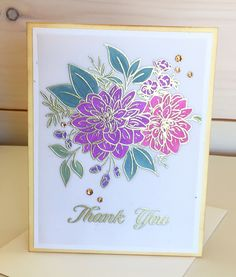 Handcrafted Card - Floral Embossed Thank you Note Card by PureGraceInspiration on Etsy