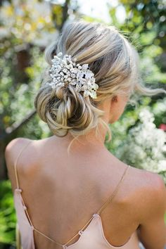 Wedding Updo Hairstyle with Vintage Style Flower Leaf Pearl Hair Comb / http://www.deerpearlflowers.com/wedding-hairstyles-and-bridal-wedding-accessories/3/