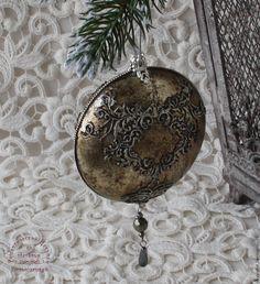 Купить Новогодние игрушки Медальон серебряное кружево - серебряный, новогодний подарок, новогодний сувенир