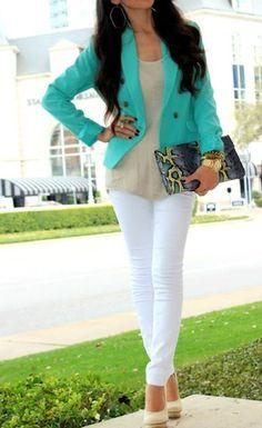 Teal blazer, white pants