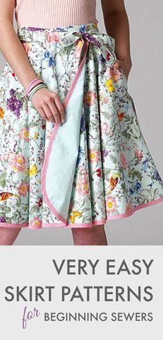 "CUTE SKIRT TO MAKE FOR LILY -- ""Beginning sewer? Here are some easy skirt patterns that even the newest of sewers can master."" = LOOK FOR Beginner Projects for Lily to Make, as well..."