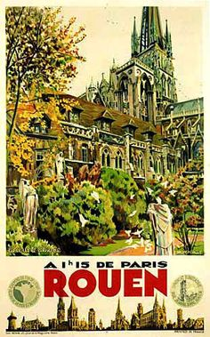 1930's Rouen Chemin de Fer Vintage French Travel Poster - Artist: Monsnergue