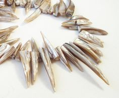 Cream Shell Stick  Mother of Pearl Spikes Beads Top by BijiBijoux
