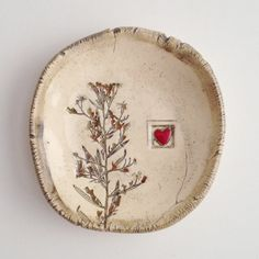 Perfect for Valentine's Day. Little pressed Flora and heart ring dish now available on etsy. Shop name Slash of Blue.  by slashofblue