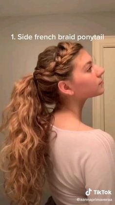 Bun Hairstyles For Long Hair, Braided Hairstyles, Cute Cheer Hairstyles, Wavy Hair, Simple Hairstyles For School, Cheerleader Hairstyles, One Side Shaved Hairstyles, 2c Hair, Basketball Hairstyles