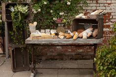 Fantastic idea for a cheese table at your wedding from Segerius-Bruce Photography shoot, lots if Out of Love goodies on those tables x Whimsical Wedding, Rustic Wedding, Cheese Table, Cheese Bar, Cheese Dessert, Cheese Display, Wine Table, Reception Food, Italian Garden