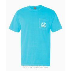 Monogrammed Short Sleeve Pocket Tee - Lagoon Blue – Ace & Ivy