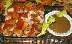 Boil porkribs belly (liempo) on crush garlic, whole pepper and salt, drained overnight in the fridge. Place on turbo for 2 hrs. Filipino Dishes, Filipino Recipes, Asian Recipes, Filipino Food, Ethnic Recipes, Turbo Broiler Recipes, Convection Oven Recipes, Pork Recipes, Cooking Recipes
