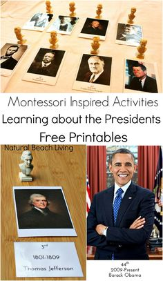 Social Studies (November/ January): Learning about the Presidents with Great Books, hands on learning and Montessori Inspired Activities. Filled with Free Printables and great information to teach your kids all about the presidents. Montessori Homeschool, Montessori Elementary, Montessori Classroom, Montessori Toddler, Montessori Activities, Homeschool Curriculum, Maria Montessori, Learning Activities, Homeschooling