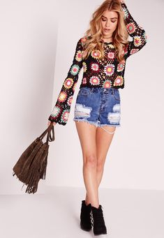 Missguided - Crochet Multi Flower Long Sleeve Top Multi