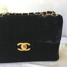 5f17bb283068d Best Offer Considered   Chanel Jumbo Flap Bag Velvet Vertical Quilted Vintage  Authentic Chanel Jumbo