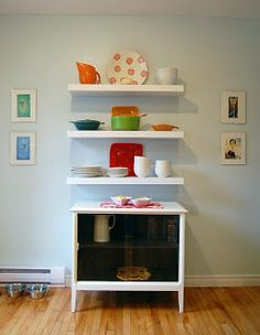 floating shelves - living room - put record player underneath! Brilliant.