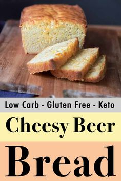This easy recipe for Cheesy Beer Bread is low carb, Keto and out of this world. And each slice has just net carbs. This easy recipe for Cheesy Beer Bread is low carb, Keto and out of this world. And each slice has just net carbs. Keto Bread Coconut Flour, Keto Flour, Keto Banana Bread, Almond Flour Recipes, Bread Recipes, Low Carb Recipes, Lemon Bread, Healthy Recipes, Sugar Bread
