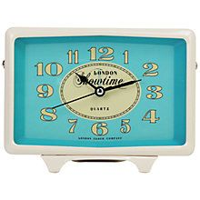 Buy London Clock Showtime Rectangular Alarm Clock, Cream/Blue Online at johnlewis.com