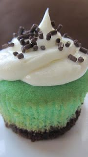 Grasshopper Cupcakes~ Brownie bottom, vanilla cake, peppermint extract, and vanilla frosting- yum!