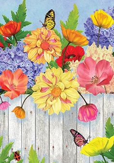 Flowered Fence Spring Garden Flag Butterfly Floral x Briarwood Lane for sale online Flower Fence, Flower Art, Spring Home, Spring Garden, Blue Butterfly Wallpaper, Spring Wallpaper, Subject Of Art, Good Morning Flowers, Leaf Drawing