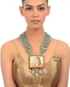 Turquoise Beaded Necklace with Bani Thani Pendant