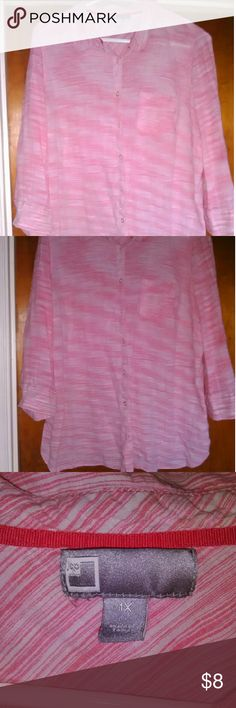JC Penney womens 1x Button up shirt Pink and white soft, casual button up shirt. It fits like a xl. jcpenney Tops Button Down Shirts