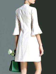 A-line Plain Buttoned Frill Sleeve Elegant Mini Dress