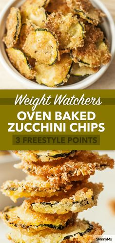Oven Baked Zucchini Chips are only 99 calories per serving. Why hit the vending machine when you can have this yummy superfood snack? #healthysnack #zucchini