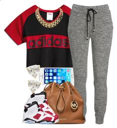 Red Adidas. by livelifefreelyy ❤ liked on Polyvore featuring Jeremy Scott, MICHAEL Michael Kors and Retrò