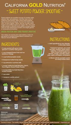 Sweet potatoes are an excellent source of complex carbs, calories, fiber, potassium and they have a low GI. Check out this Green Protein and Carb Powder Smoothie Recipe featuring California Gold Nutrition Sweet Potato Powder.